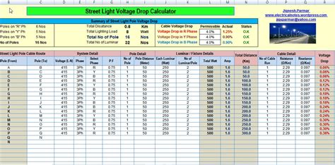 light calculations calculate voltage drop and no s of light pole