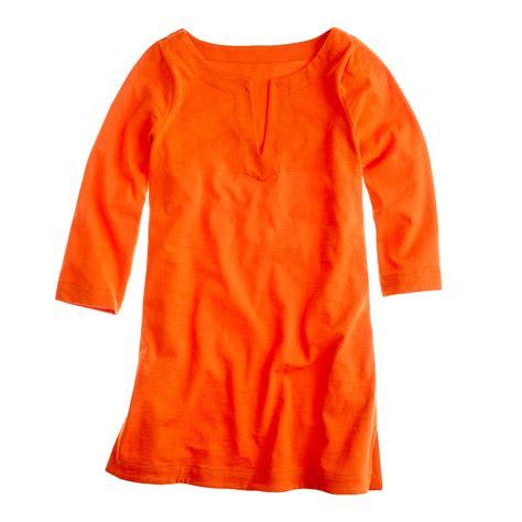 knit tunic dress j crew knit tunic dress in orange bright persimmon lyst