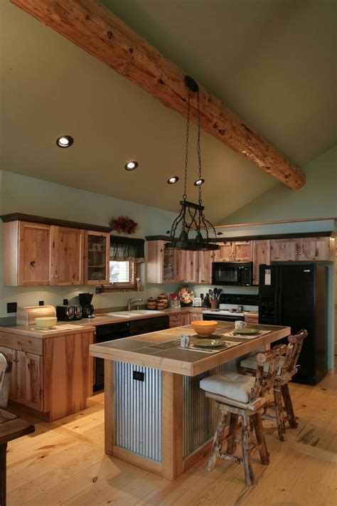 kitchen island rustic log cabin kitchens with modern and rustic style homestylediary