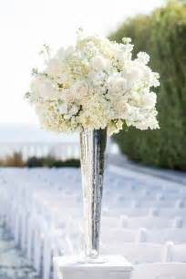 and white centerpieces white and hydrangea centerpiece in a silver