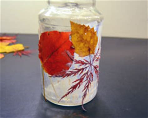 decoupage with leaves decoupage leaves on a jar