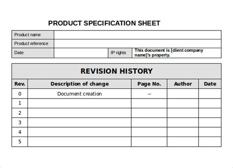 specification sheet sample 11 documents in pdf