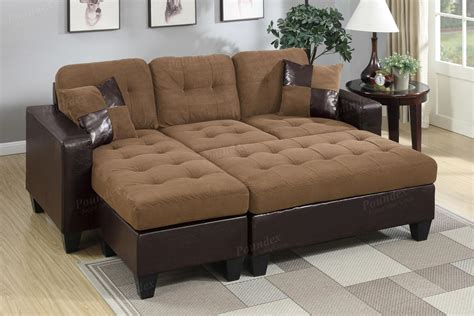 ottoman sectional poundex cantor f6929 brown leather sectional sofa and