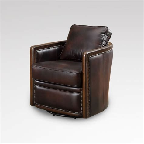 leather swivel club chair 34 quot w swivel base tub chair vintage chocolate brown soft