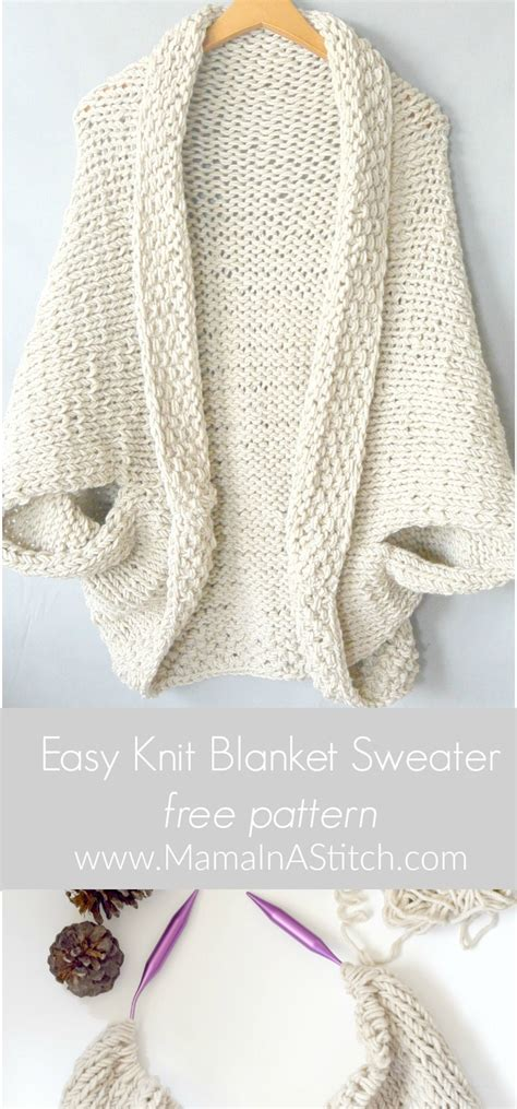 easy knit pattern free easy knit blanket sweater pattern in a stitch