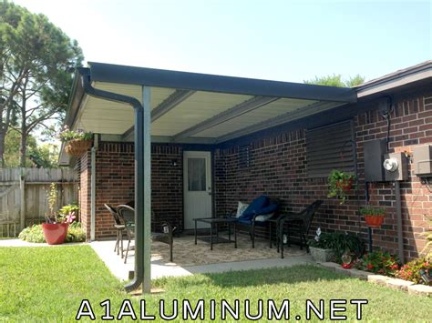 steel patio cover with offset post to meet windstorm in
