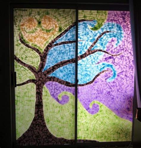 paper stained glass window craft window mosaic family crafts