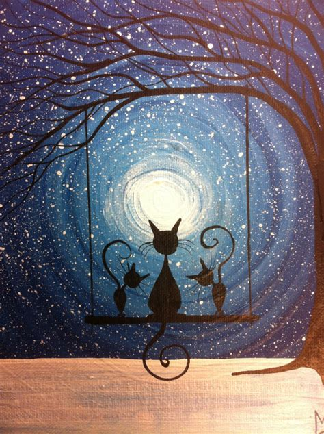 simple cat painting ideas cat s on a swingpainting waiting for the magic 10 x 8 acrylic