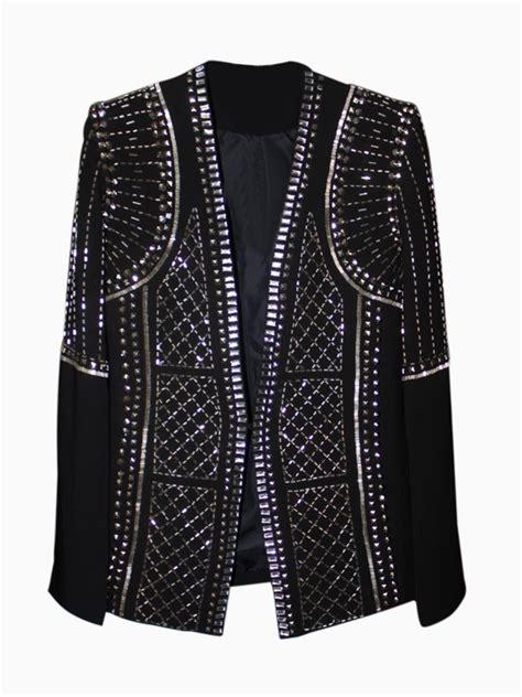 Stud Beaded Textured Blazer Coat Choies