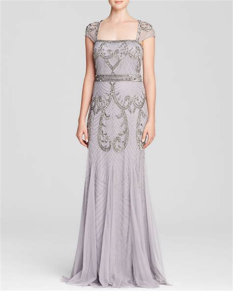 beaded cap sleeve gown papell gown square neck cap sleeve beaded open