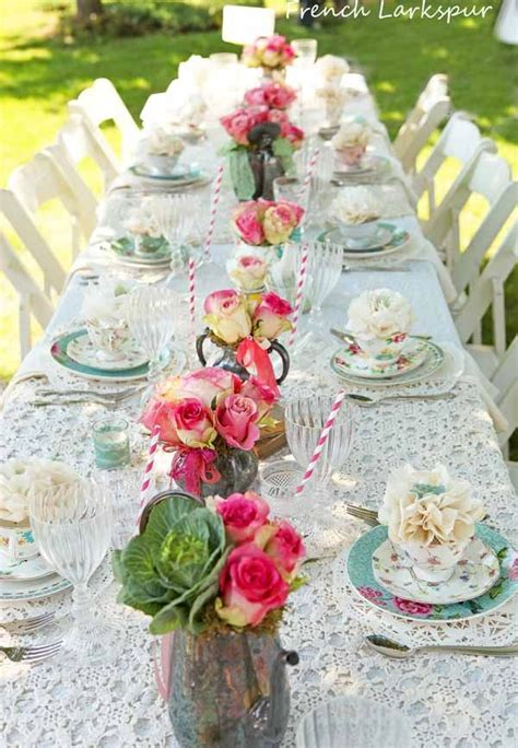 fresco tea parties larkspur table setting in 2018