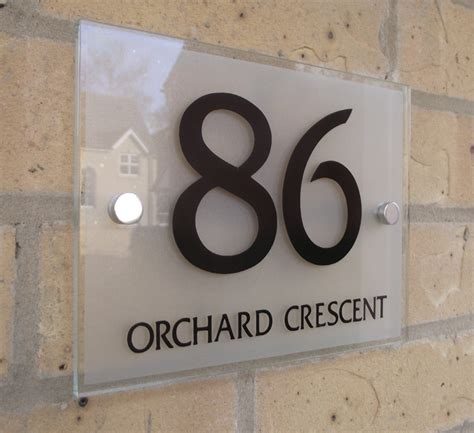 door number plaques glass house number door sign plaque modern frosted glass effect