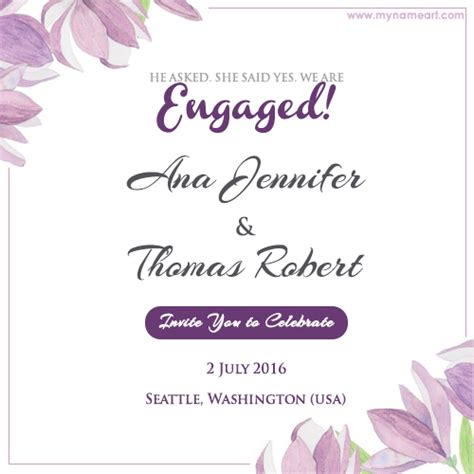 how to make engagement cards write name on floral engagement invitation card