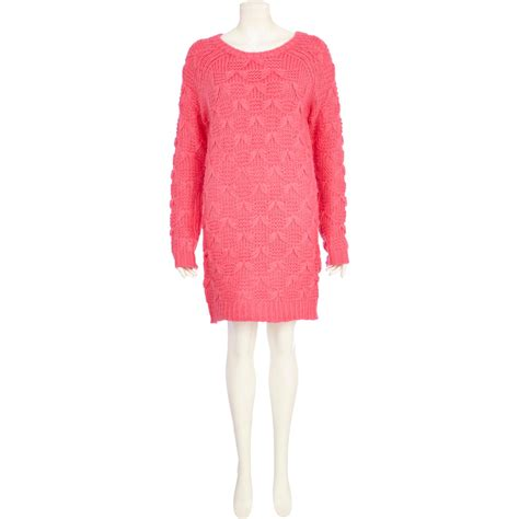 river island knitted dress river island pink chelsea bow knit jumper dress in