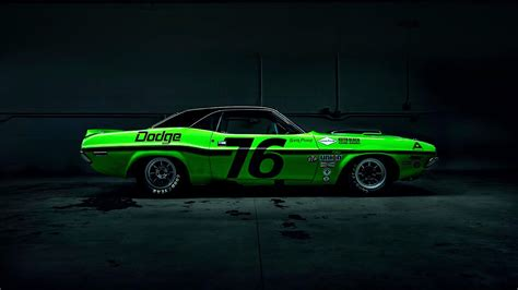 Classic Car Wallpaper 1600 X 900 Hd Picture by Wallpaper Dodge Challenger Green Race Car 1920x1080