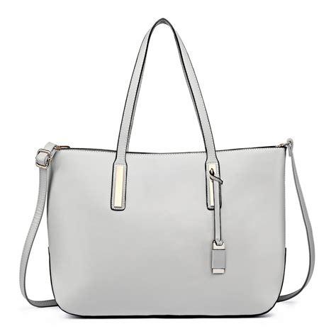 large for leather l1435 miss lulu leather look large shoulder tote bag grey