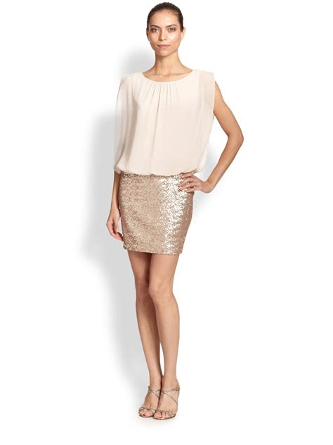 aidan mattox beaded blouson dress aidan mattox blouson sequined dress in metallic lyst