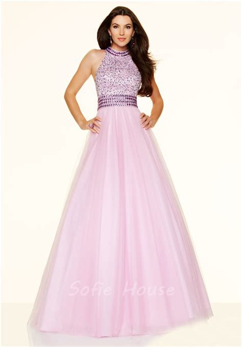 high neck beaded prom dress a line high neck open back light blue tulle beaded