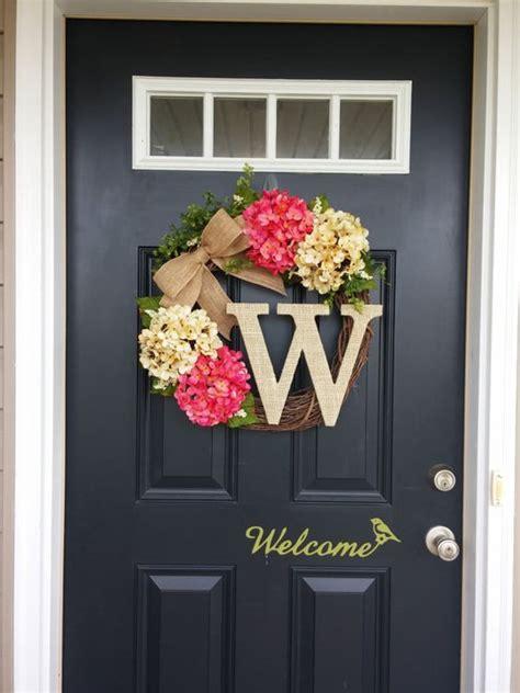 front door decoration summer wreath monogram wreath hydrangea wreath front