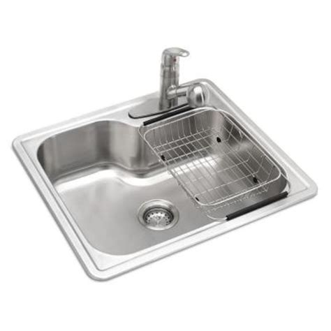 glacier bay stainless steel kitchen sink glacier bay all in one top mount stainless steel 25 in 3