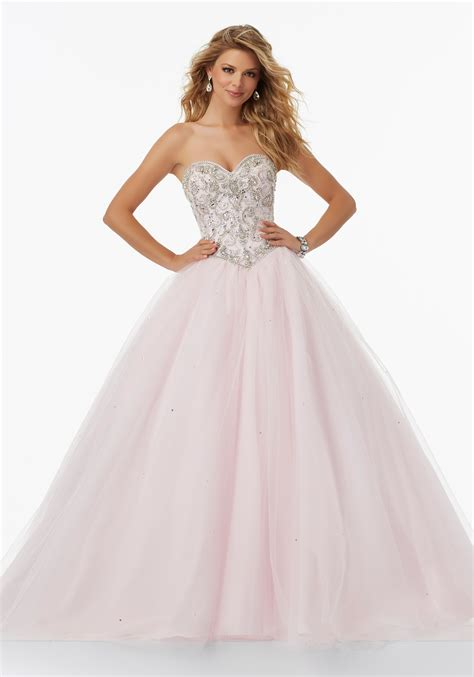 beaded bodice prom dress tulle prom gown with beaded sweetheart bodice style