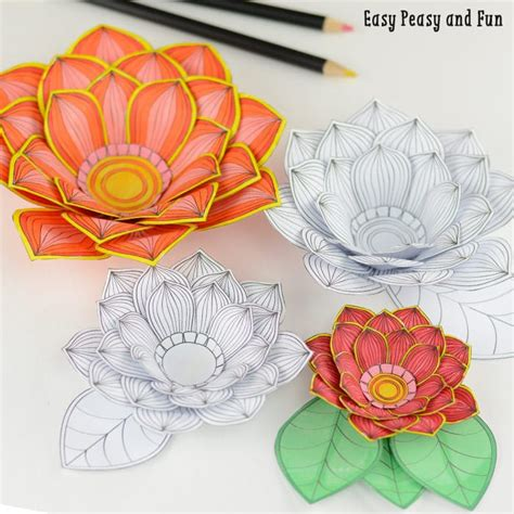 paper craft of flowers paper craft flowers 3d coloring pages easy peasy and