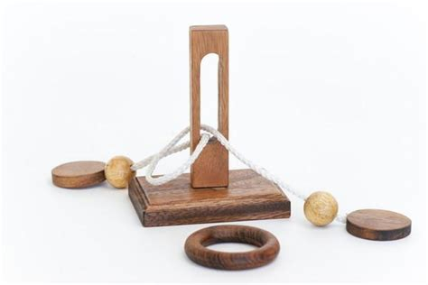 wooden string oliver ring wooden string puzzle solve it think out