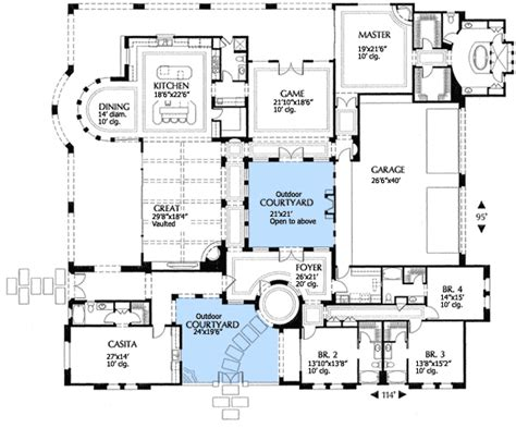 mediterranean house plans with courtyard plan w16315md mediterranean villa with two courtyards e architectural design