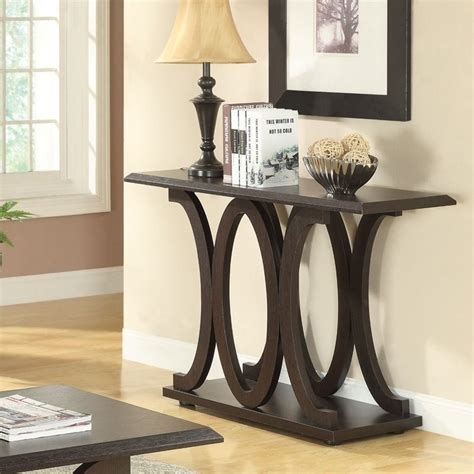 c shaped table for sofa coaster c shaped sofa table in cappuccino 703149