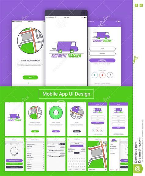 home designer sign up shipment tracker mobile app ui ux and gui stock