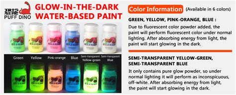 glow in the paint different colors puff dino glow in the water based paint 60ml