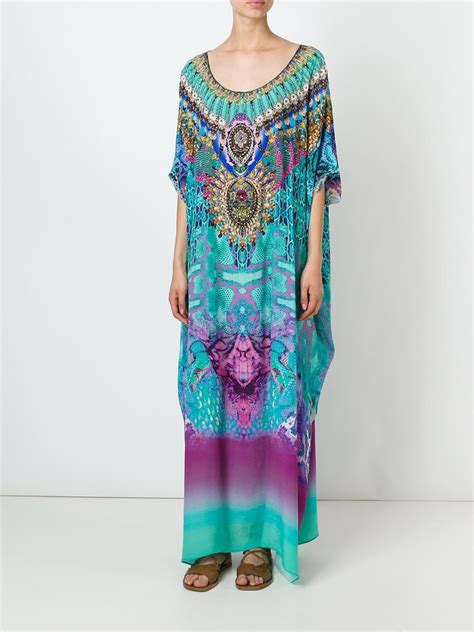 beaded kaftan dress camilla bead print silk kaftan in multicolor multicolour