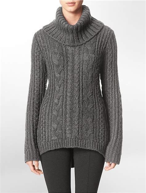 womens cable knit sweaters calvin klein womens cable knit turtleneck sweater ebay