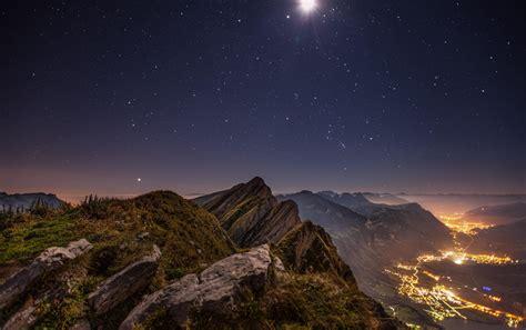 valley lights wallpaper mountains valley lights moon