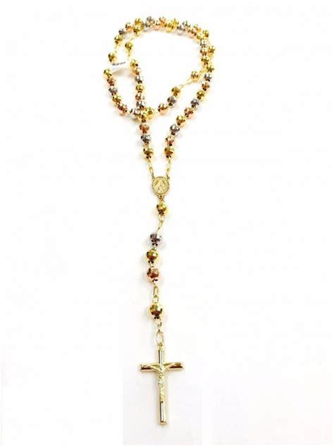 14k rosary 14k tricolor 8mm bead rosary ejros8mmdc3c
