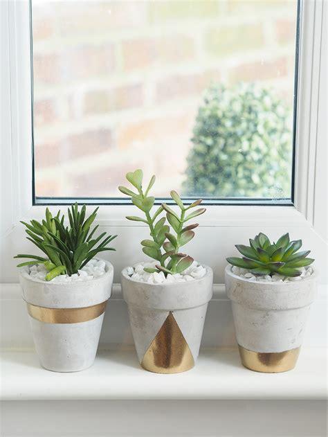 diy cement planters gold concrete succulent planters diy on style