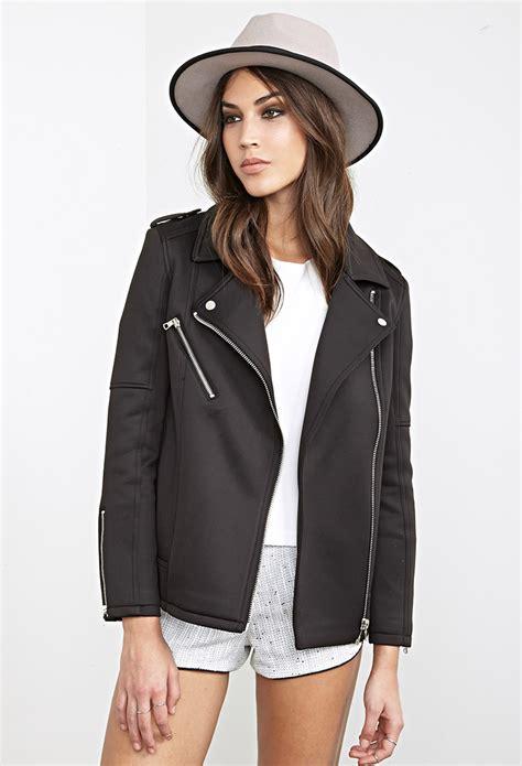 knit moto jacket forever 21 forever 21 scuba knit moto jacket in black lyst