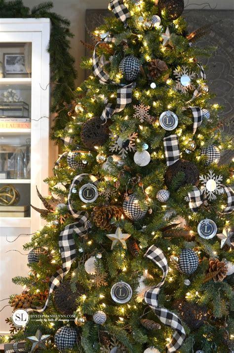 black mini tree black white style series plaid