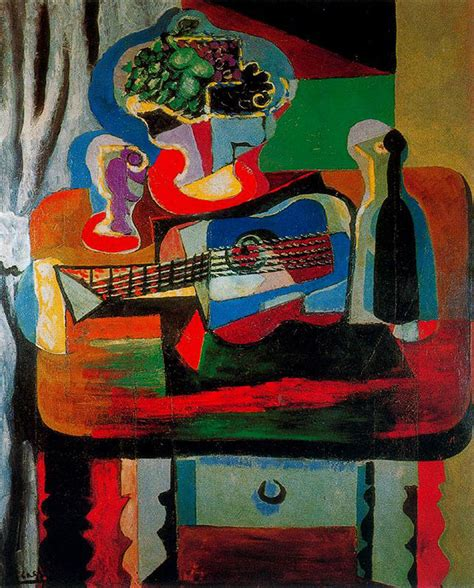 picasso glass paintings guitar bottle fruit dish and glass on the table 1919