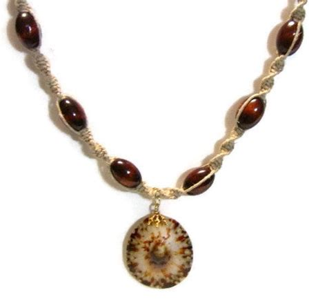 hemp bead necklace hemp necklace with wood and shell pendant by
