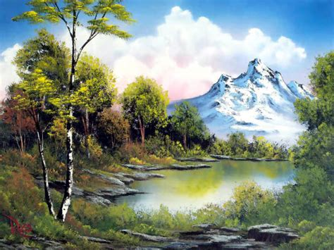 bob ross painting blue moon colorful landscape paintings by bob ross from america