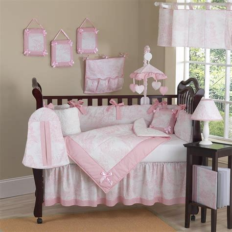 baby crib sheet sets pink and white toile baby crib bedding 9pc