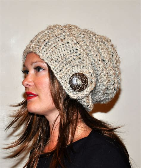 slouchy knit beanie slouch hat slouchy beanie 100 wool button knit winter