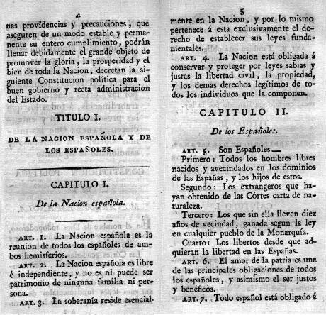 cuadro constituciones espa olas constituci 243 n espa 241 ola de 1812