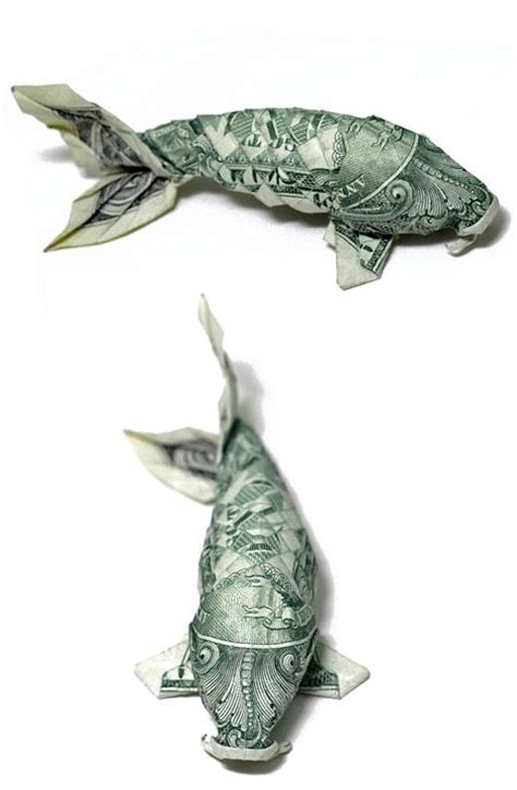koi fish dollar origami origami carp made from a dollar bill tis better to