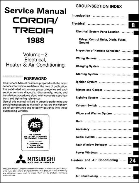 1988 mitsubishi cordia tredia repair shop manual set original