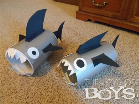 shark craft projects make recycled canister sharks dollar store crafts
