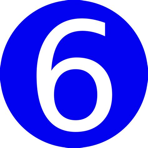 number six blue rounded with number 6 clip at clker vector