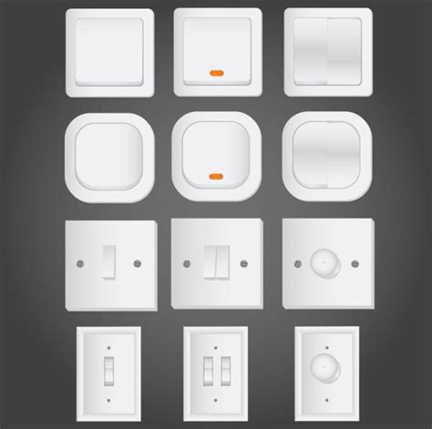 4 designer electrical switches vector material