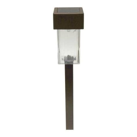 solar outdoor lights home depot malibu led solar mini square outdoor brown stake light